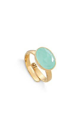 18kt Yellow Gold Plated Silver Atomic Maxi Light Green Chalcedony Adjustable Ring