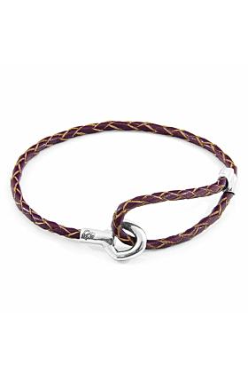 Deep Purple Blake Silver and Braided Leather Bracelet
