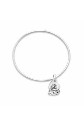 Sterling Silver Spirit Double Heart Oval Bangle Bracelet
