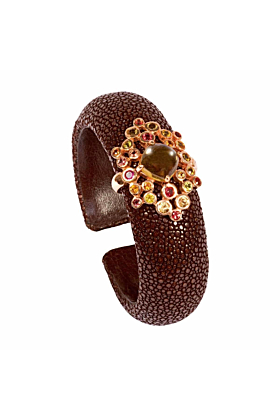 Samba Stingray Leather Bangle With Flower Clasp