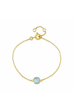 Yellow Gold Plated Brooklyn Blue Topaz Bracelet