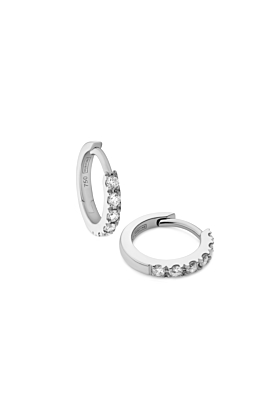 Diamond Huggie Earrings in 18kt white gold