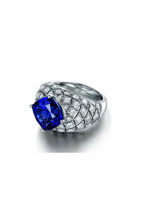 Square Cushion Cut Tanzanite Diamond Cocktail Ring