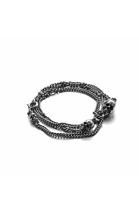 Sterling Silver Triple Skull Bracelet