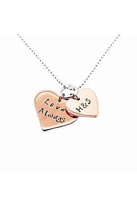 9kt Rose Gold Personalised Double Love Heart Necklace