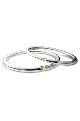 Silver & 9kt Yellow Gold Slice Bangles