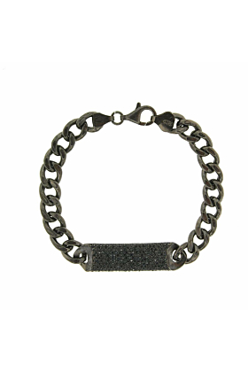 Black Rhodium Plated Essential All Black ID Bracelet