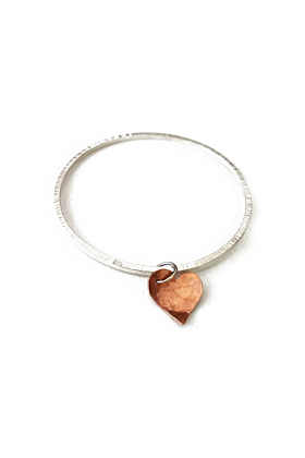 Silver Sweet Textured Bangle With Curved Lightly Hammered Copper Heart