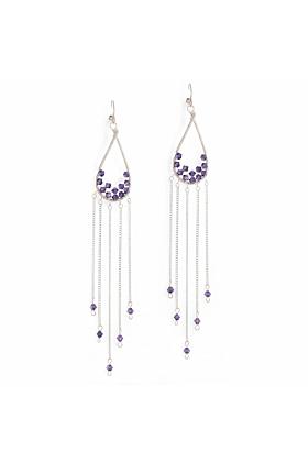 Sterling Silver Purple Crystal Feather Earrings
