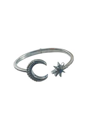 Rhodium Plated Silver Moon & Star Bangle