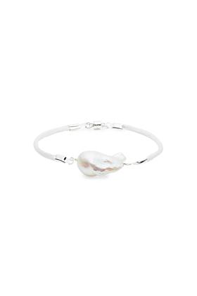 Baroque Freshwater Pearl & Satin Bracelet - Silver