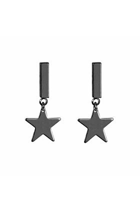 Brass Star Matt Gunmetal Earrings