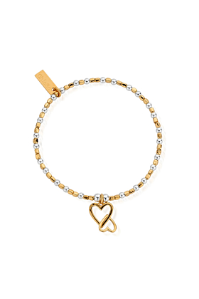 Gold and Silver  Interlocking Love Heart Bracelet