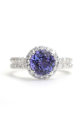 14kt White Gold Tanzanite & Diamond Halo Engagement Ring