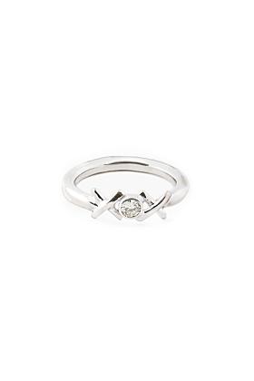 Silver Kiss Hug Kiss Ring with Diamond