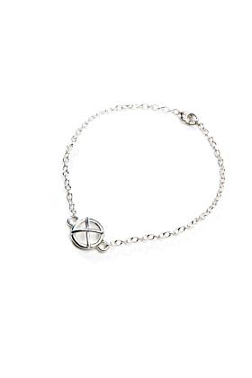 Sterling Silver Kiss Hug One Large Component Bracelet