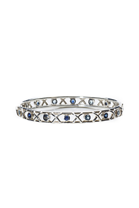 Sterling Silver Blue Sapphire & Aquamarine Kiss Hug Bangle Bracelet