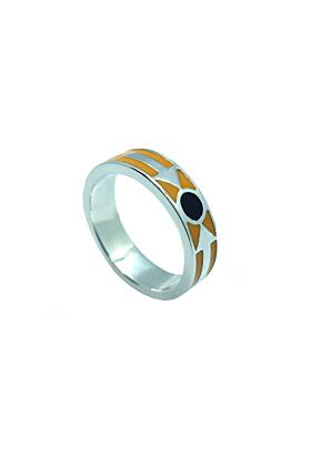 Kunye Silver Orange Enamel Band Ring