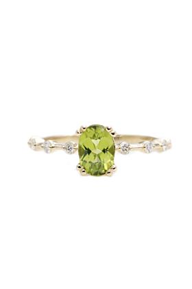 14kt Gold Oval Green Peridot Diamond Classic Engagement Ring
