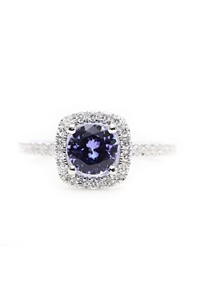 14kt White Gold Blue Tanzanite & Diamond Halo Engagement Ring