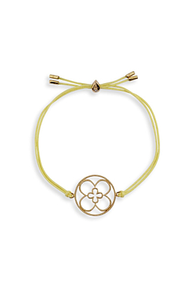 18kt Yellow Gold Vermeil Faith Friendship Bracelet with Yellow Cord