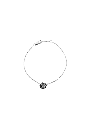 Sterling Silver Wildflower Bracelet with a Diamond