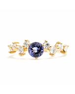 14kt Gold & Round Tanzanite Diamond Engagement Ring