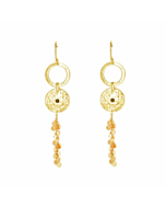 Gold & Black Spinel Grace Long Disc Earrings