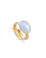 18kt Yellow Gold Plated Silver Atomic Maxi Blue Lace Agate Adjustable Ring
