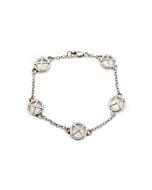 Sterling Silver Kiss Hug Five Large Components Bracelet