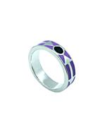 Kunye Silver Purple Enamel Band Ring