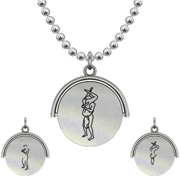 Allumersutra 30MM Silver Pendant Necklace - Girl And Boy - The 69