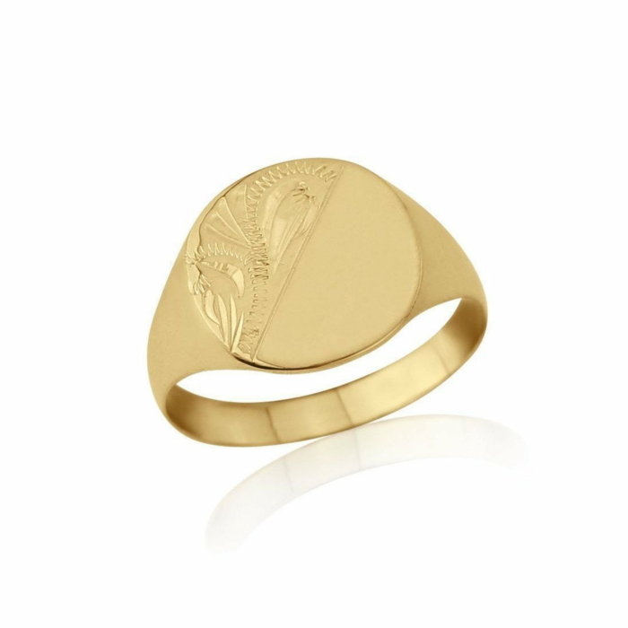 9kt Yellow Gold Lightweight Cushion-Shaped Engraved Signet Wedding Ring