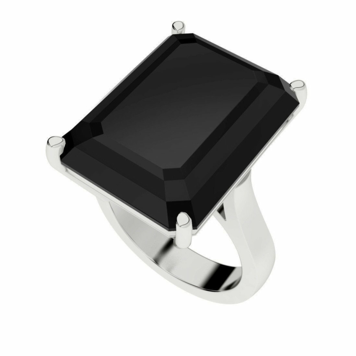 Onyx Emerald Cut Sterling Silver Cocktail Ring