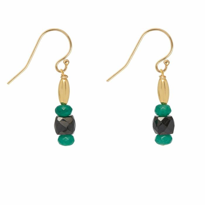 Green Jade and Onyx Drop Earrings