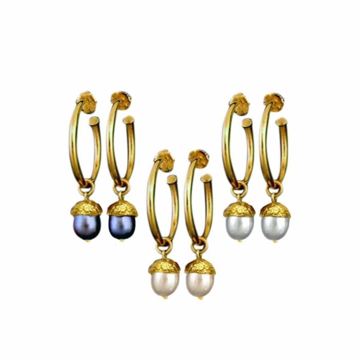 18kt Gold Vermeil Large Acorn Hoop Earrings