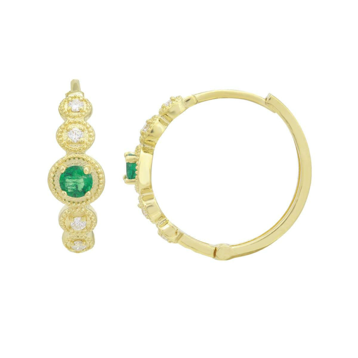 18kt Yellow Gold Emerald & Diamond Hoop Earrings