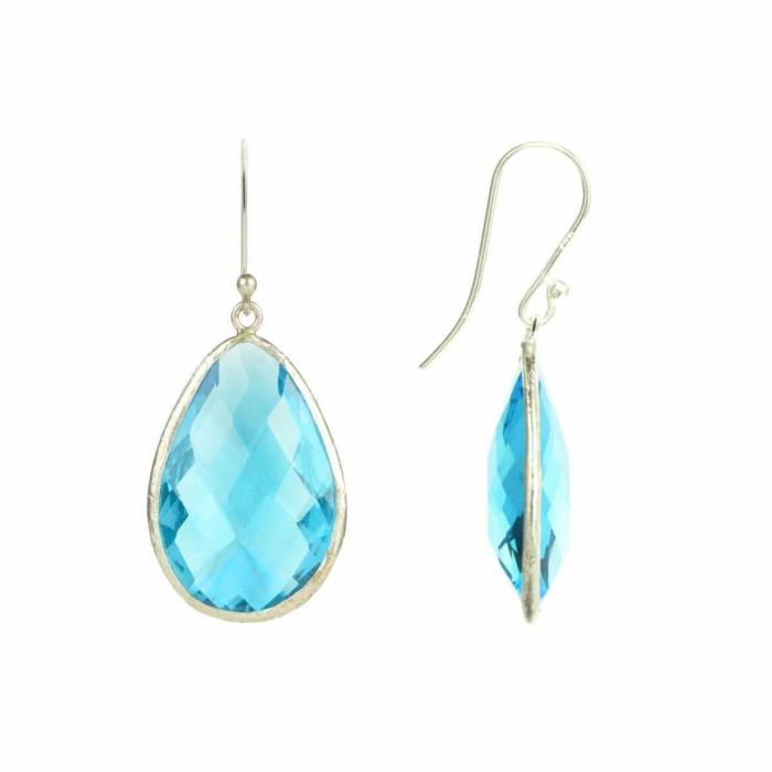 Silver Single Drop Earring Blue Topaz