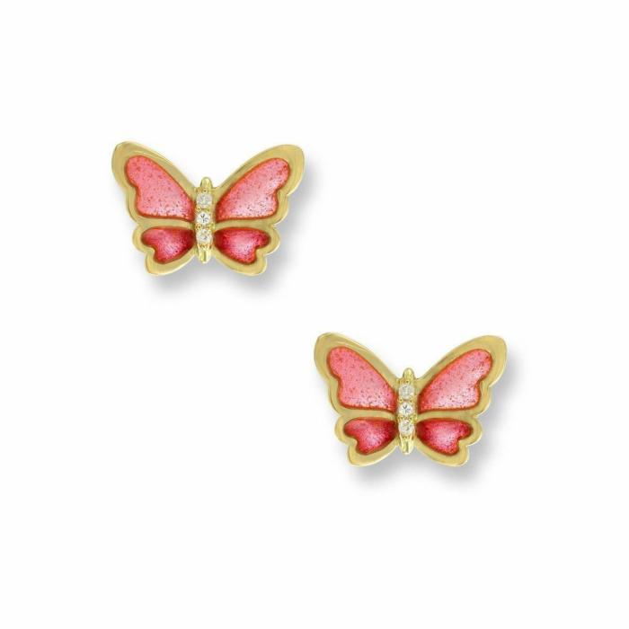18kt Gold Butterfly Pink Stud Earrings