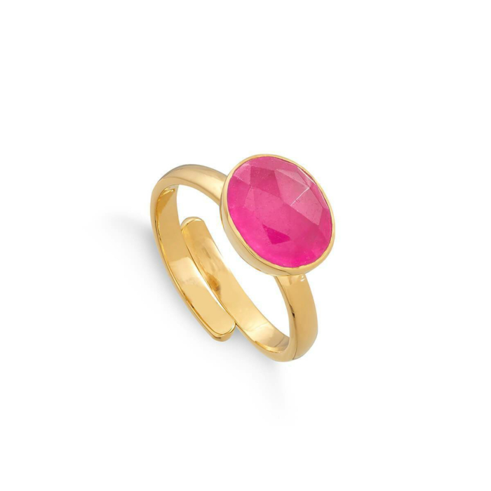18kt Yellow Gold Plated Silver Atomic Midi Pale Ruby Quartz Adjustable Ring