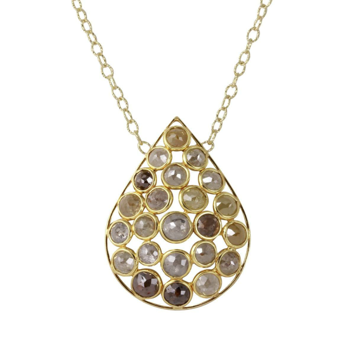 18kt Yellow Gold Natural Colour Rose-Cut Diamond Drop Shape Necklace