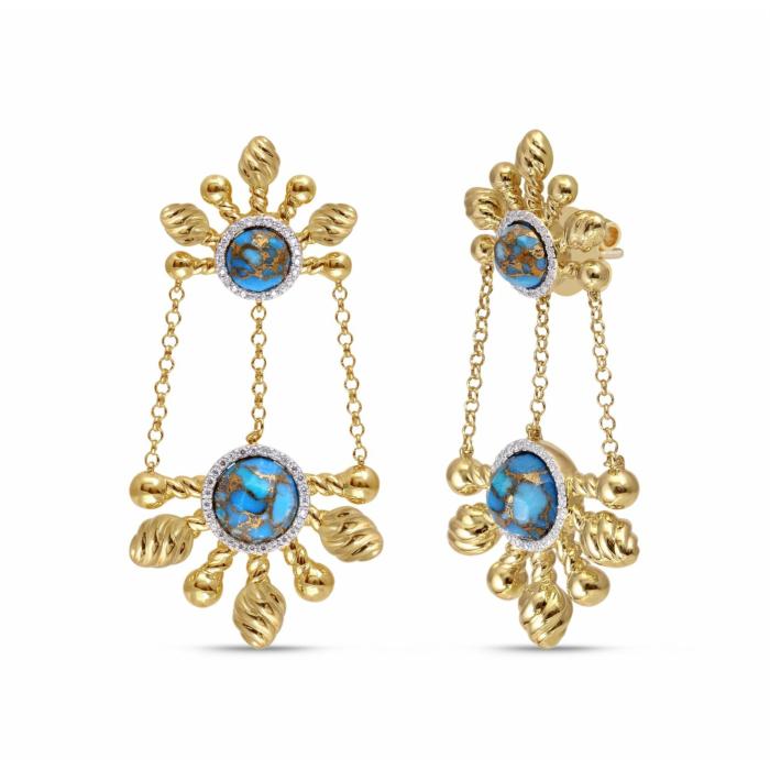 Sunny Cascade Turquoise & Diamond Chandelier Earrings
