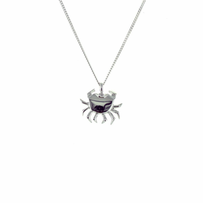 Sterling Silver Mini Crab Origami Necklace