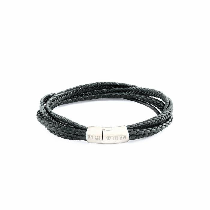 Silver & Black Leather Multi-Strand Cobra Bracelet