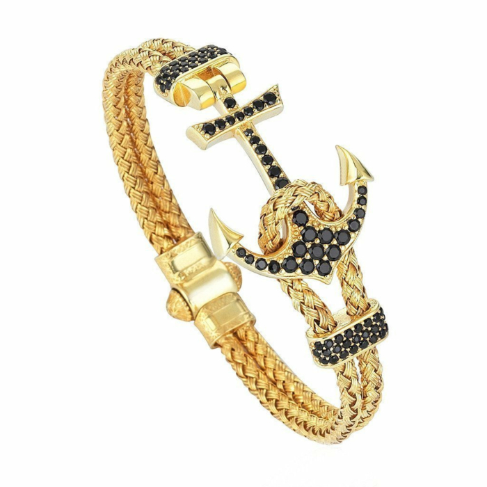 Silver & Yellow Gold Plated Anchor Bracelet