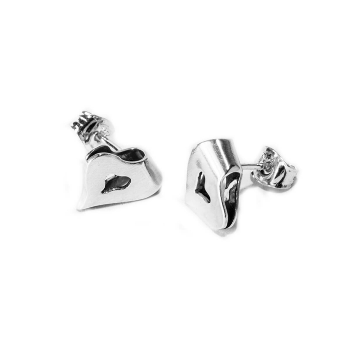 Sterling Silver Small HEART Earrings Matt