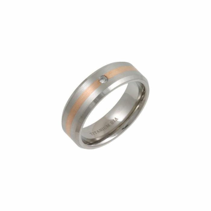 Titanium & 9kt Rose Gold Inlay 7mm Diamond Flat Court-Shape Wedding Ring
