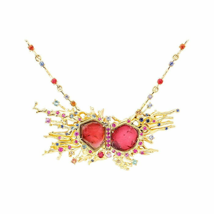 Rose Gold & Multi-Gemstone Choque De Estrellas Necklace | Jaime Moreno