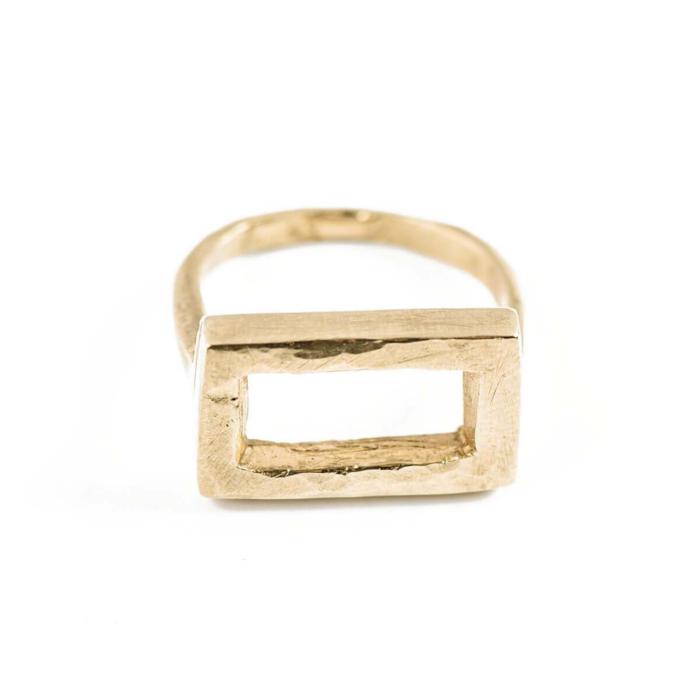 Yellow Gold Rectangular Ring