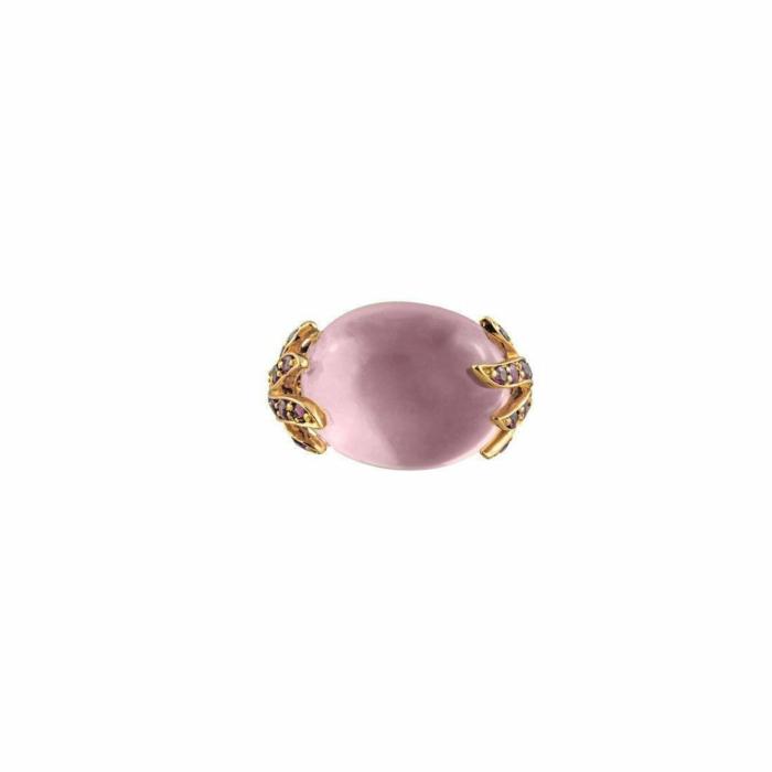 18kt Rose Gold Aqua Ring With Rose Quartz & Pink Sapphires